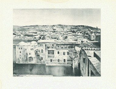 """""""Jerusalem""""  Text photograph made from a painting of Jerusalem published by Selmar Hess in New York, ca 1900."""
