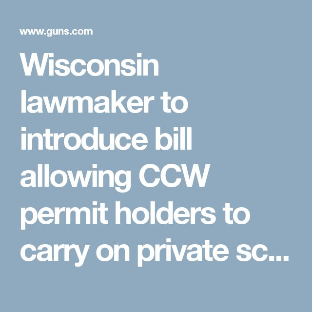 Wisconsin lawmaker to introduce bill allowing CCW permit holders to carry on private school grounds