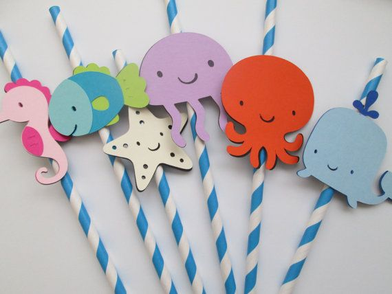 Set of 12 Blue Under the Sea Straws - Under the Sea,  Baby Showers, Birthday Parties, Its a Boy on Etsy, $12.50