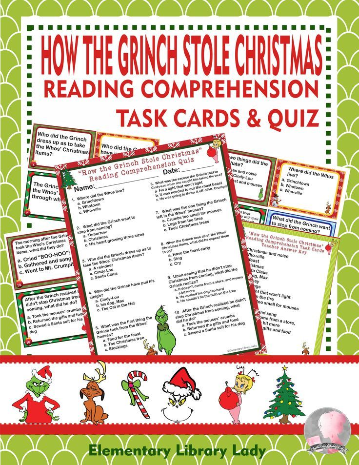 How the Grinch Stole Christmas Book Study, Comprehension