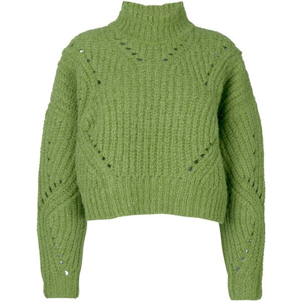 Isabel Marant Farren pullover ($715) ❤ liked on Polyvore featuring tops, green, turtleneck pullover, long sleeve turtleneck top, green turtleneck, turtle neck crop top and turtleneck crop tops