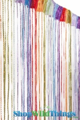 Our Rainbow String Curtain has threads of silver woven through and comes with it's own tension rod! Use as a room divider, in a window, or in a doorway!
