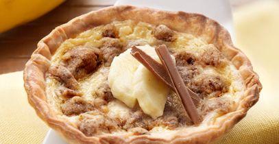 Tartaletas de plátano y crumble de chocolate