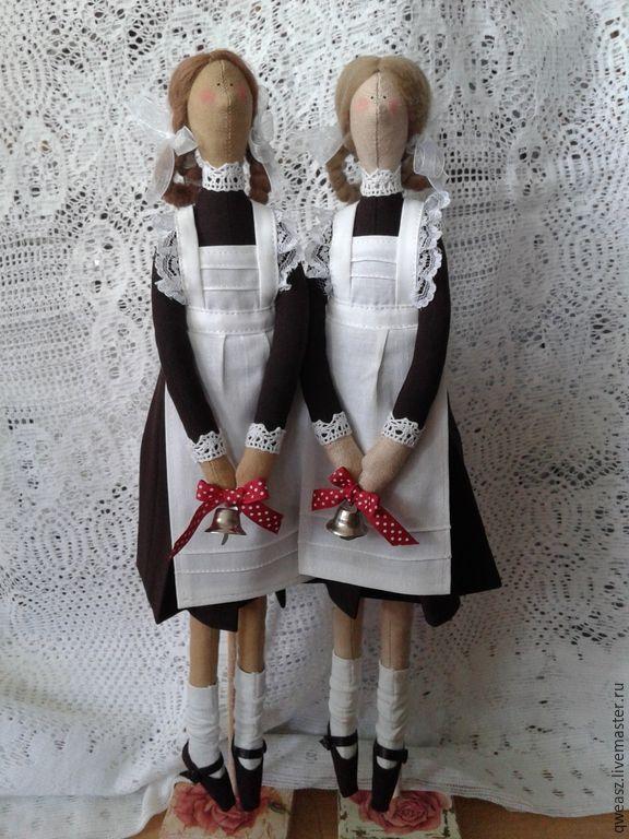 Купить тильда школьница - коричневый, подарок, подарок подруге, подарок девушке, подарок женщине, учителю ♡