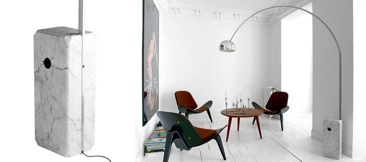 Sfeerfoto interieur Flos Arco booglamp met marmeren voet