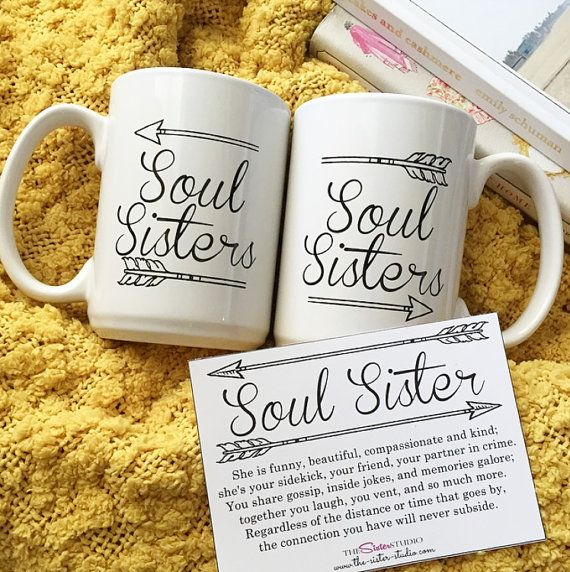 TWO mugs, SOUL SISTERS, Coffee Mug Set - Best Friends, Sisters- Gifts -Coffee Cup - Bridesmaids