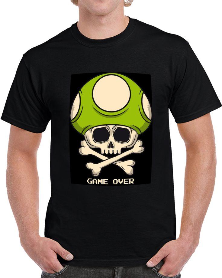 Mushrooms Skull Game Over Hongo Calavera  T Shirt