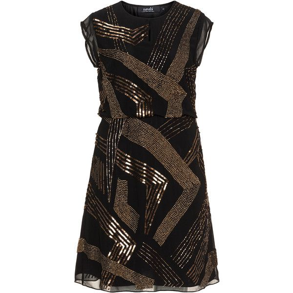 navabi Black / Gold Plus Size Embellished party dress (£195) ❤ liked on Polyvore featuring dresses, plus size, plus size dresses, black, gold sequin cocktail dresses, gold beaded dress, plus size sequin dress, knee length dresses and a line cocktail dress