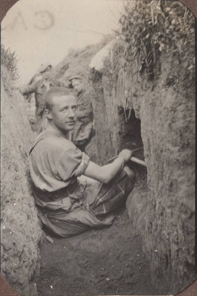 Probably taken near Bailleul in a training trench, Scottish during WWI