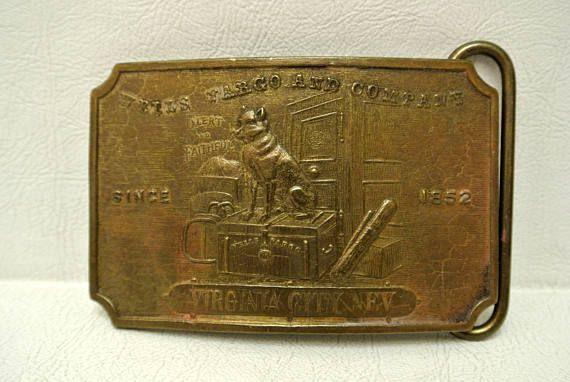 Vintage Wells Fargo & Co Fake Tiffany NY Brass Belt Buckles