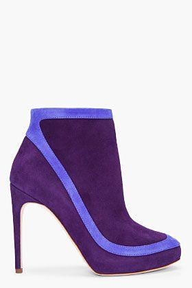 RUPERT SANDERSON Dark Purple Garron Ankle Boots