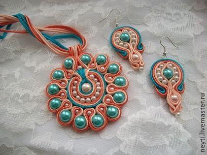 Комплект кулон и серьги сутажные `Голубой цветок`.