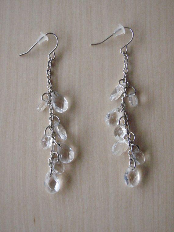 Clear dangling earrings by RosemarysJewellery on Etsy