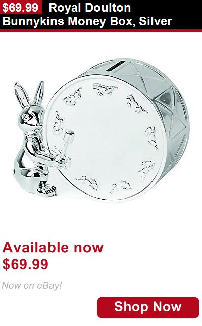 Other Baby Keepsakes: Royal Doulton Bunnykins Money Box, Silver BUY IT NOW ONLY: $69.99