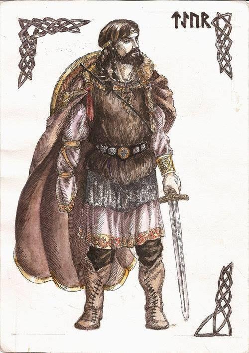 Tyr es el dios de la guerra en la mitología nórdica, descrito como el Hombre de una Sola Mano. En cierto punto, Tîwaz fue sobrepasado en renombre y en autoridad por Odín en las tradiciones germánicas del norte y del oeste. Sin embargo, entre las tribus germánicas del este, él parece haber seguido siendo el dios supremo.