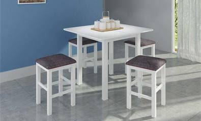 Conjunto para Sala de Jantar com Mesa Dobrável e 4 Banquetas Branco/Xadrez - Móveis Canção