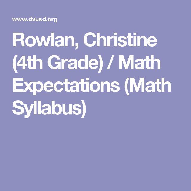 Rowlan, Christine (4th Grade) / Math Expectations (Math Syllabus)