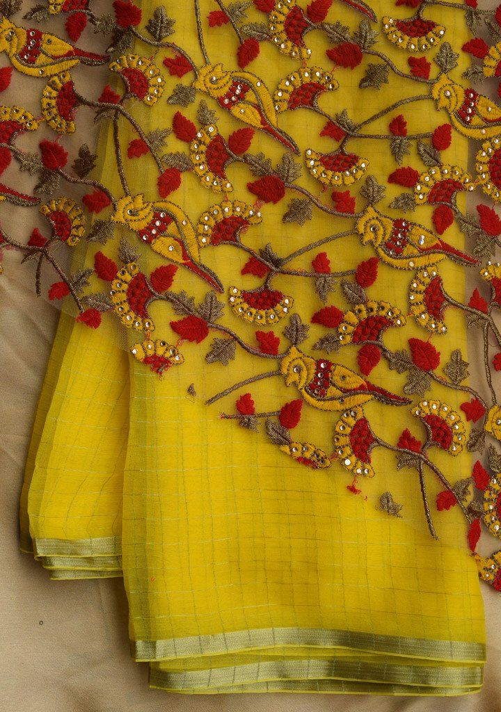 Yellow checks saree with embroidered blouse piece