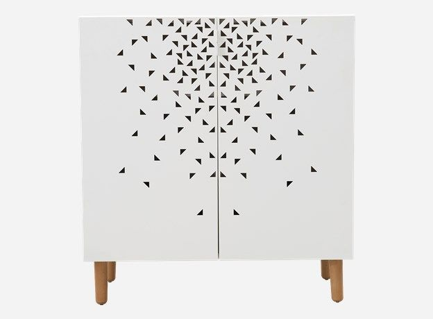 Li1011 - Skab m. bøgetræsben, Storm, hvid, 90x40 cm, h.: 95 cm