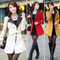 Kvinnor ylle varma vintern lång kappa jacka dike Slim Fit med bälte
