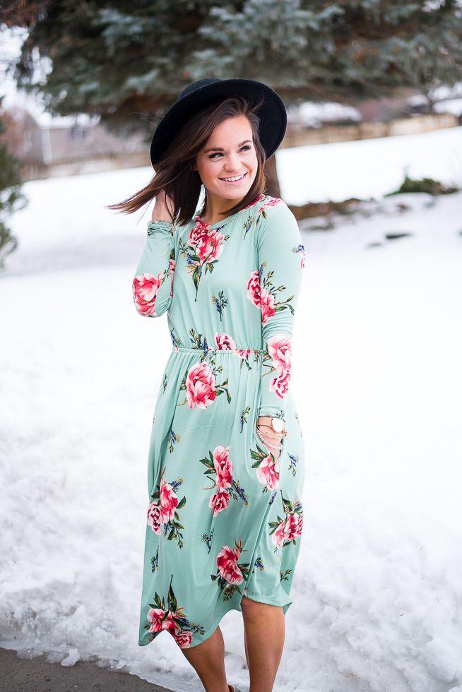 Olive Ave - Floral Selena Dress- Mint, $31.25 (http://oliveave.com/floral-selena-dress-mint/)