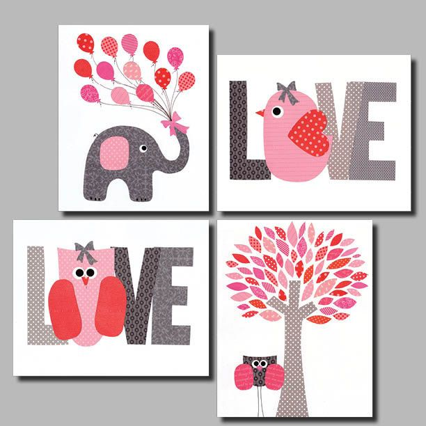 Love+Pink++Nursery+wall+art+kids+room+baby+by+3000yardsofthread,+$56.00