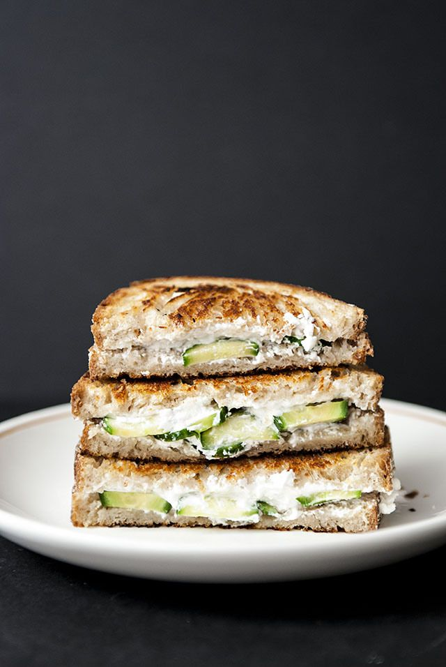 Cucumber Goat Cheese Grilled Cheeses, make with homemade vegan Chevre from Artisan Vegan Cheeses