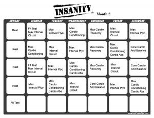 Insanity Workout Calendar Month 2...I suggest this to everyone, I have gotten a really toned body since doing it!! :p