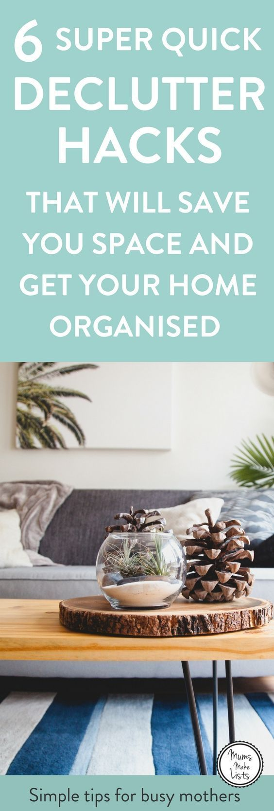 Declutter your home using these 6 quick decluttering tips to make it clutter free. It is important to put some time aside and to declutter, it stops you feeling overwhelmed and gives you more space in your home #Declutter #declutteringtips #declutteringideas #declutterhelp