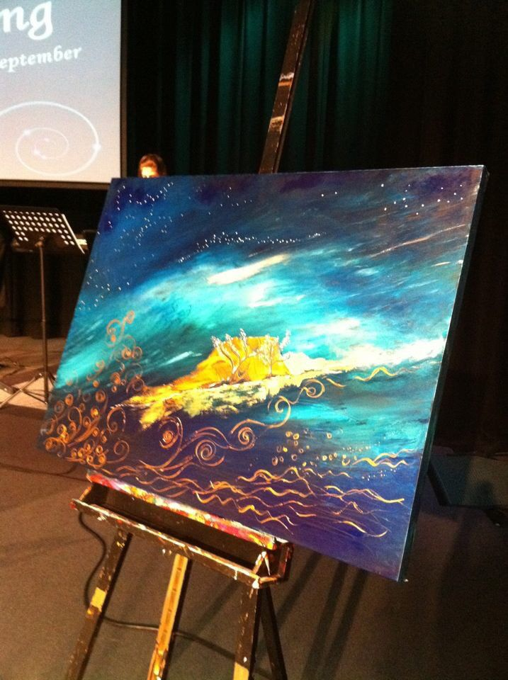 """Iain & Alison"". Painted live in 30 mins worship at the Freeman Wedding at DaySpring Church, Sydney. #wendymanzo #propheticart #worshipart #liveart #speedpainting #weddingday"
