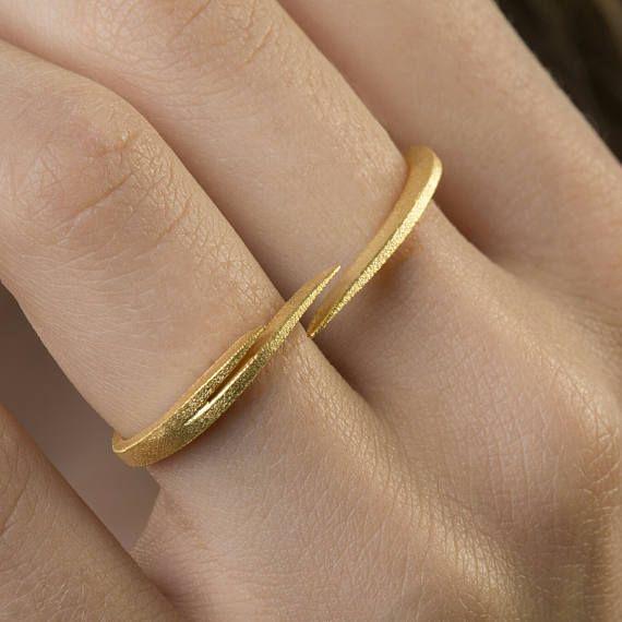 Διπλό δαχτυλίδι δάχτυλο, Σύγχρονη Ring, ρυθμιζόμενου δακτυλίου, Minimal Ring, 925 εξαιρετικό ασήμι, διπλό δαχτυλίδι δάχτυλο, εύκολο στην χρήση, 18K Επίχρυσο