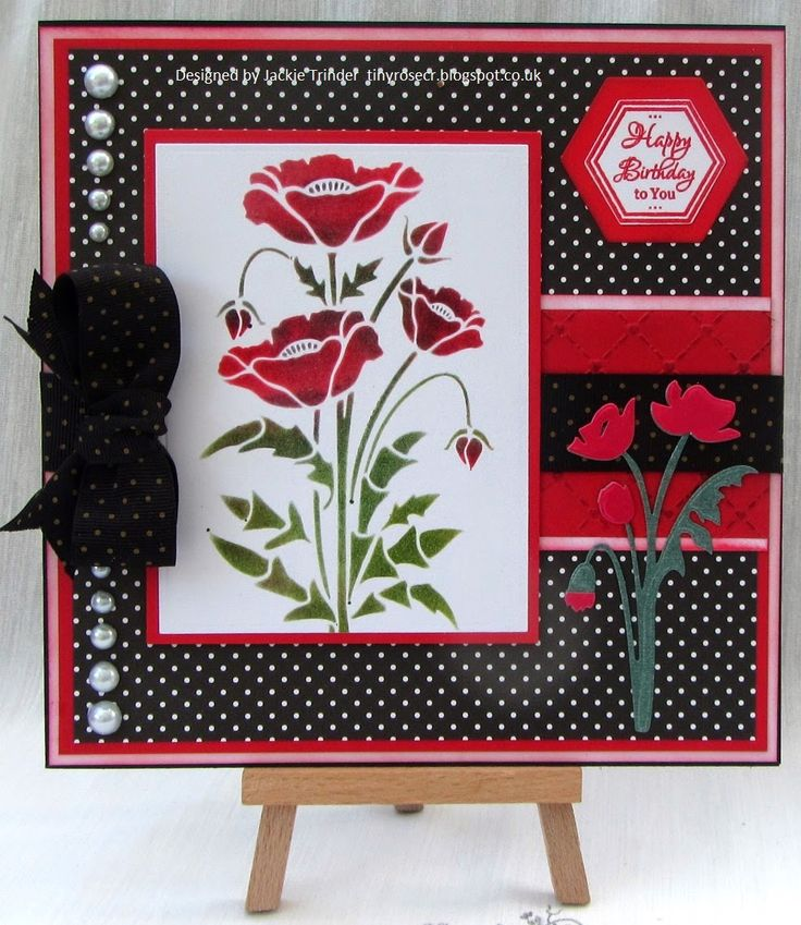 Tinyrose's Craft Room: Ribbons, Pearls and Poppies. Made using a Sweet Poppy Stencil.