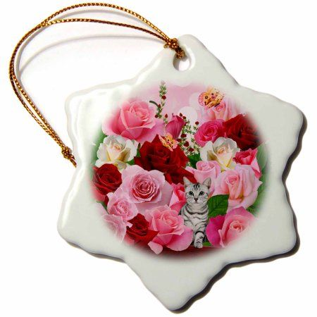 3dRose Pink and Red Roses Junes Birth Flower with Tabby Cat and Butterflies perfect for the June Birthday, Snowflake Ornament, Porcelain, 3-inch