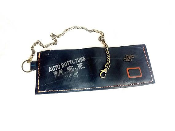 Cyclist inner tube handmade wallet with chain  / chain wallet