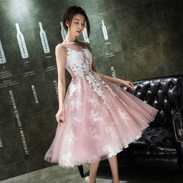 Gorgeous Tulle Applique Lace Pink Tea Length Homecoming Dresses 2017 Pink Dress For Graduation