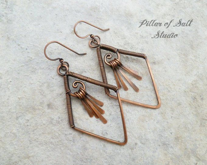 Handmade Copper Earrings Solid Copper Wire Was Used To Form These Flourishing Spiral Shapes The Ear W Handmade Wire Jewelry Wire Wrapped Jewelry Wire Jewelry