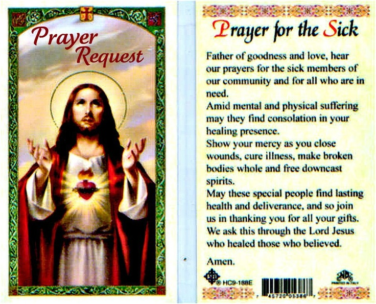 Prayer for the Sick Prayer Pinterest