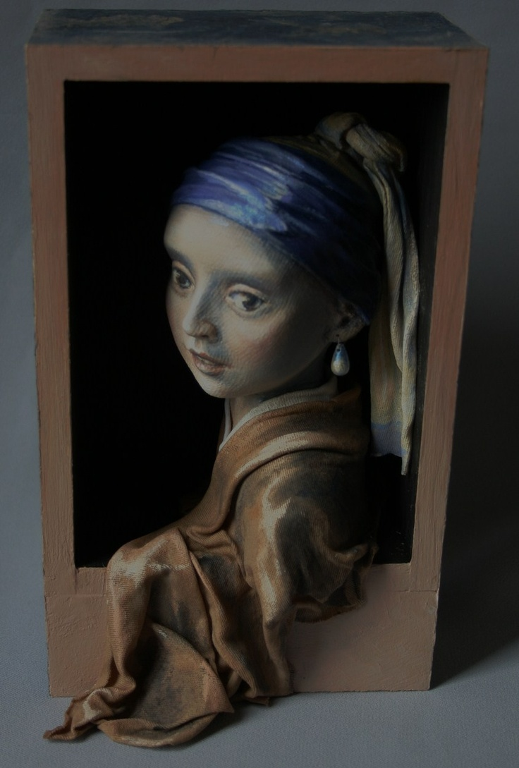 """My 3D interpretation of the famous Vermeer painting, """"Girl With a Pearl Earring"""". Wood, cloth, clay etc"""
