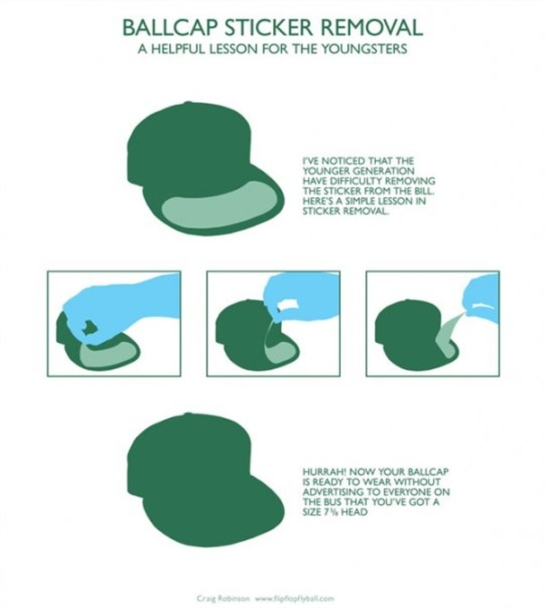 how to remove that sticker from your baseball cap. think i'll start handing these out.