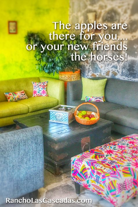 apples, mexican living room, fun style, rancho las cascadas