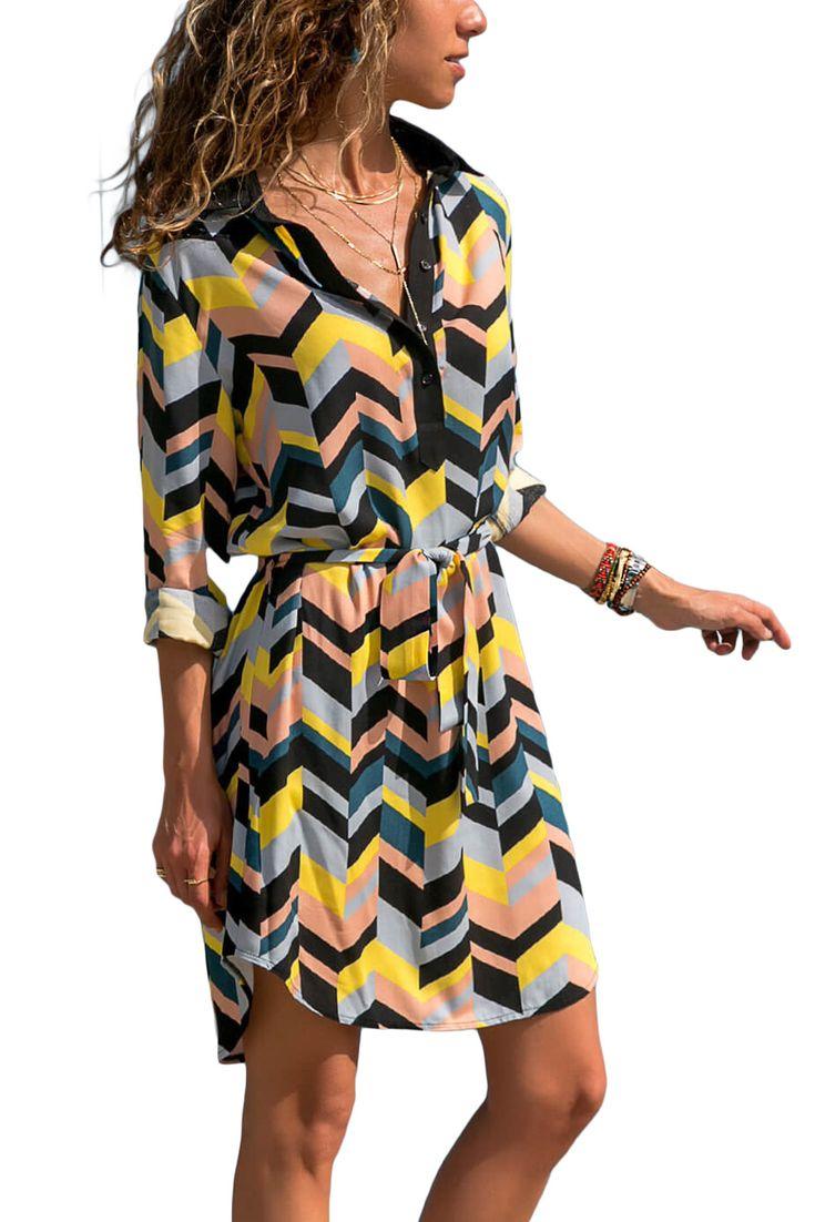 Multicolor Print Blocked Button V Neck Dress Shirt