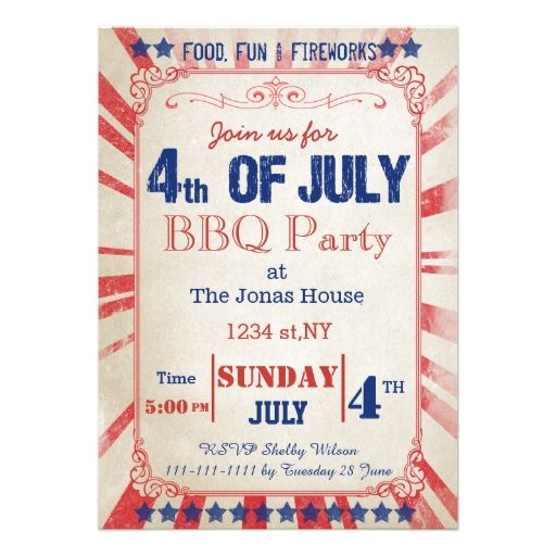 Best July Th Invitations Images On   Invites Party