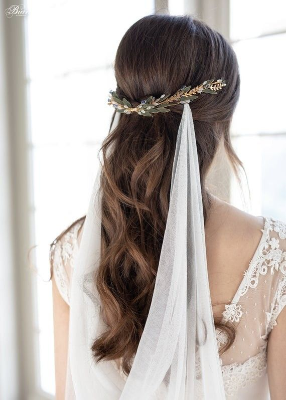 Delicate Bridal Headpiece Bridal Hair Comb Wedding Headpiece Back Hair Piece Leaves Wedding Hair In 2020 Bridal Hair Headpiece Wedding Halo Headpiece Bridal Hair