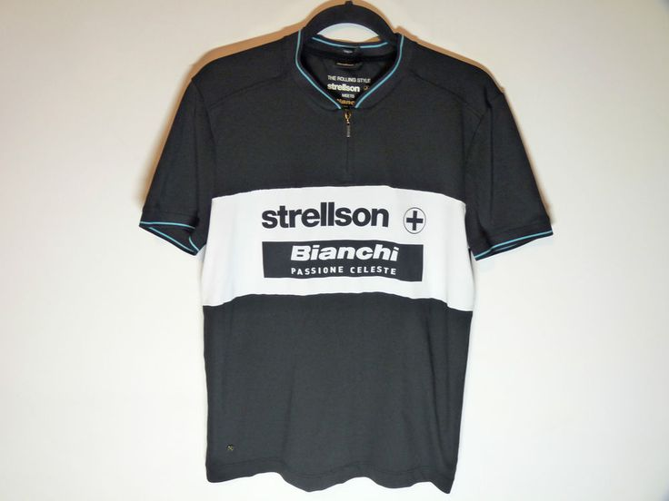 Bianchi black cycling jersey Strellson Passione Celeste maillot cycliste Medium