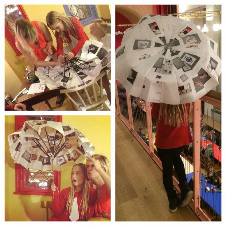Umbrella made from paper and straws. Ida & Olivia 2016