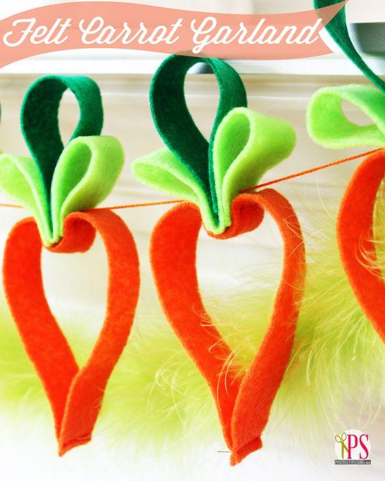 Easy Felt Carrot Garland Easter Craft