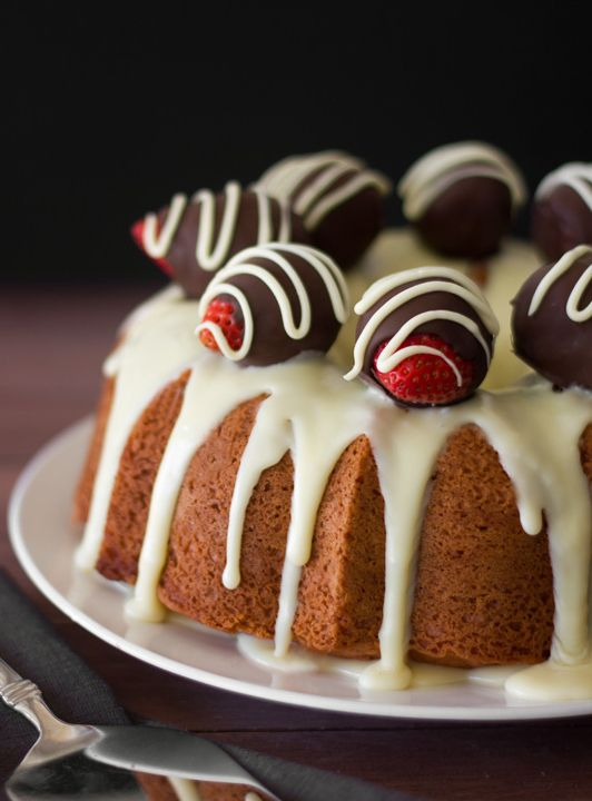 Strawberry Bundt Cake with White Chocolate Ganache is a beautiful, tasty dessert