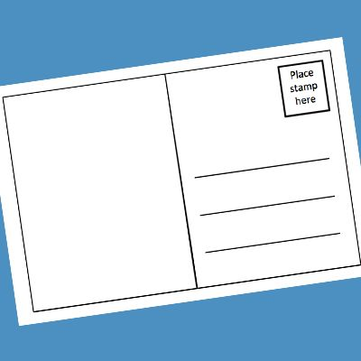 postcard printable - perhaps use as a writing prompt for kids to let parents know how their first day has gone. Draw or use photos on the picture side.