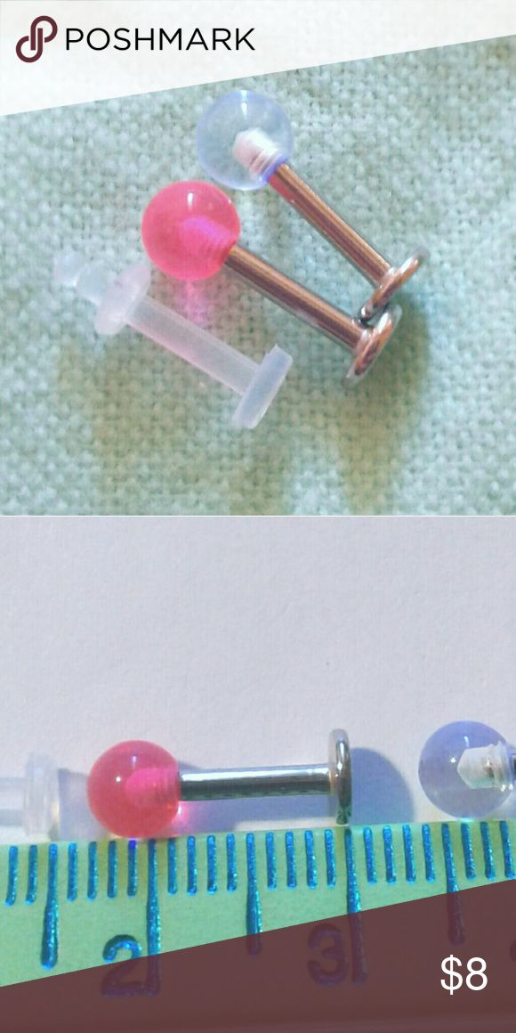 Lip Labret Rings + Retainer Clear Pink 316L Steel Two 14g lip labret rings + flexible rerainer with O ring. 8mm in length Bioplast and 316L surgical steel. Clear, pink acrylic balls. Jewelry