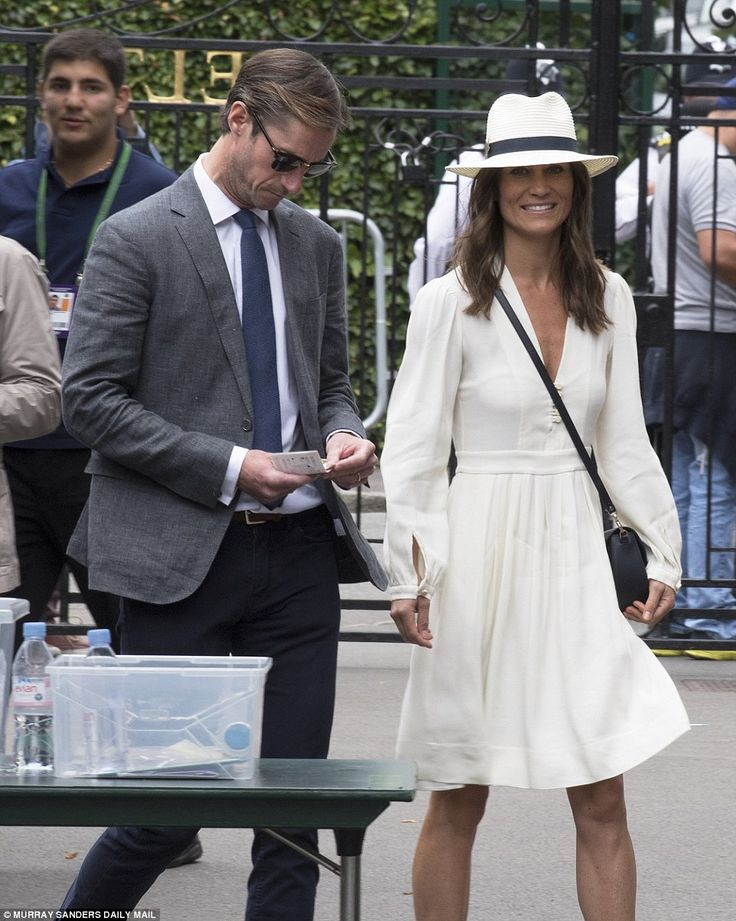 It may have been an overcast day, but Pippa was looking summery in a simple cream dress
